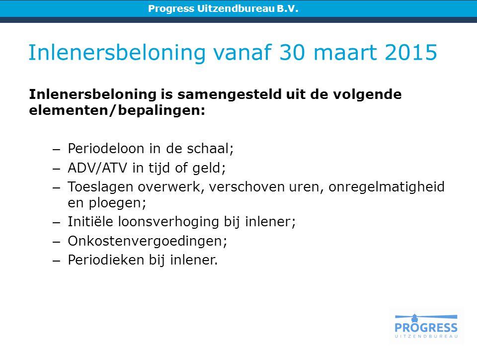 Inlenersbeloning vanaf 30 maart 2015 Progress Uitzendbureau B.V.