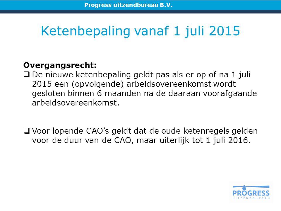 Ketenbepaling vanaf 1 juli 2015 Overgangsrecht:  De nieuwe ketenbepaling geldt pas als er op of na 1 juli 2015 een (opvolgende) arbeidsovereenkomst wordt gesloten binnen 6 maanden na de daaraan voorafgaande arbeidsovereenkomst.