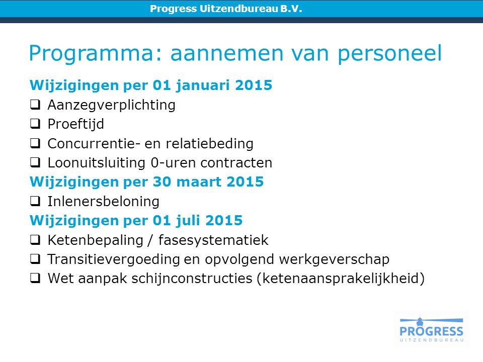 Programma: aannemen van personeel Progress Uitzendbureau B.V.