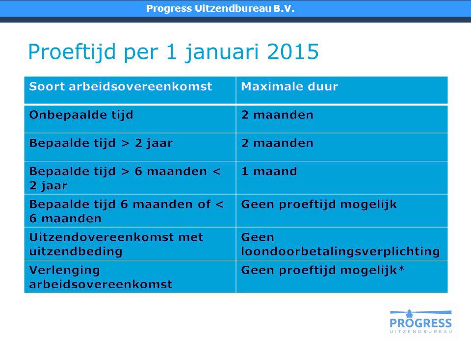 Proeftijd per 1 januari 2015 Progress Uitzendbureau B.V.