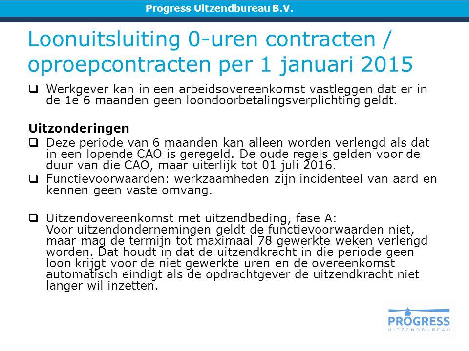 Loonuitsluiting 0-uren contracten / oproepcontracten per 1 januari 2015 Progress Uitzendbureau B.V.