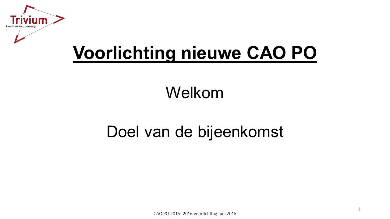 CAO PO 2015- 2016 voorlichting juni 2015 Voorlichting nieuwe CAO PO Welkom Doel van de bijeenkomst 1