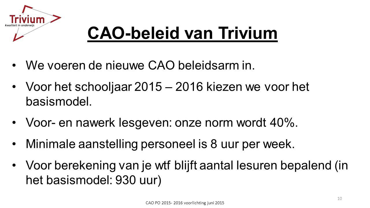 CAO-beleid van Trivium We voeren de nieuwe CAO beleidsarm in. Voor het schooljaar 2015 – 2016 kiezen we voor het basismodel. Voor- en nawerk lesgeven: