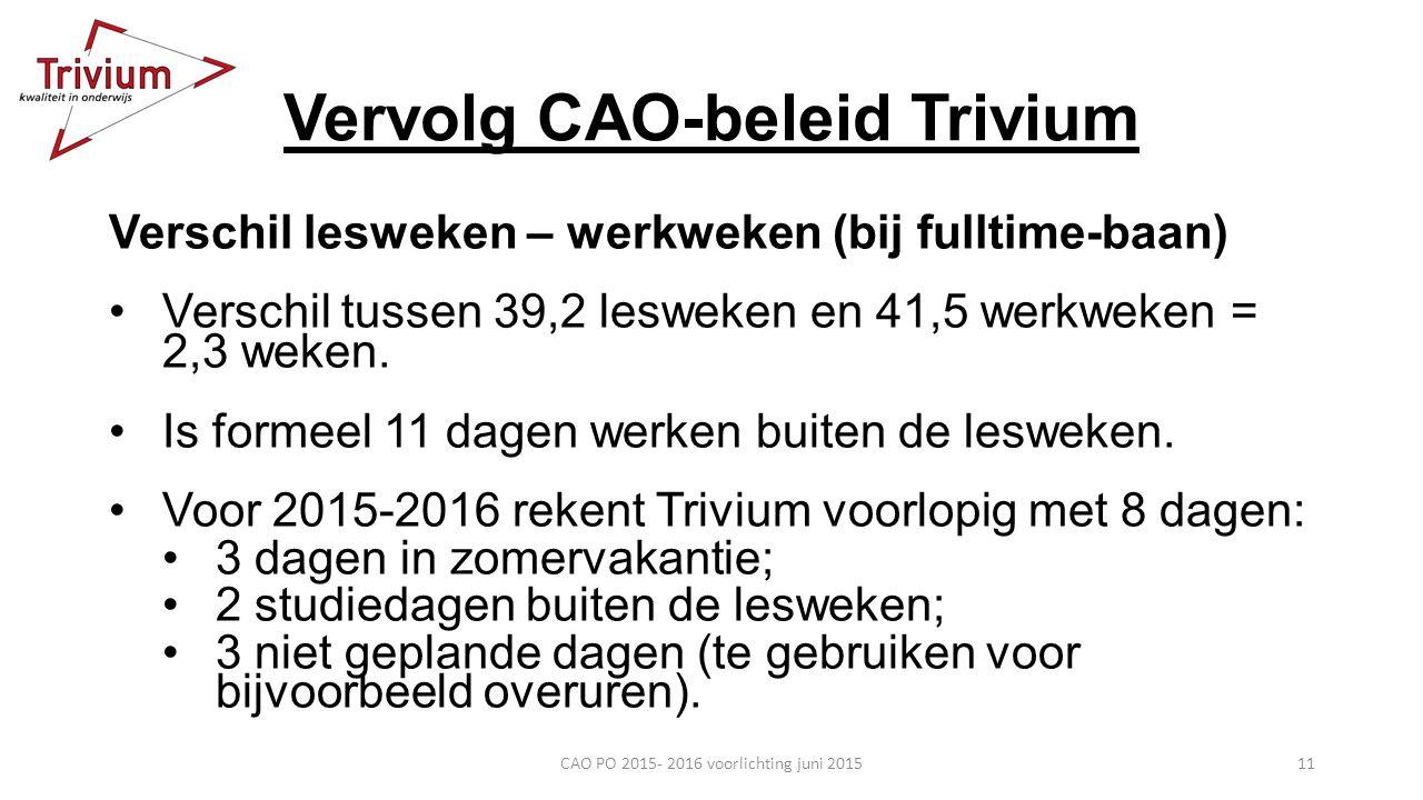 Vervolg CAO-beleid Trivium Verschil lesweken – werkweken (bij fulltime-baan) Verschil tussen 39,2 lesweken en 41,5 werkweken = 2,3 weken. Is formeel 1
