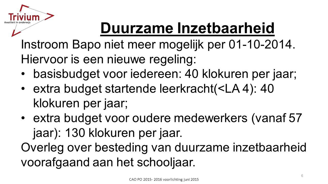 Duurzame Inzetbaarheid Instroom Bapo niet meer mogelijk per 01-10-2014. Hiervoor is een nieuwe regeling: basisbudget voor iedereen: 40 klokuren per ja