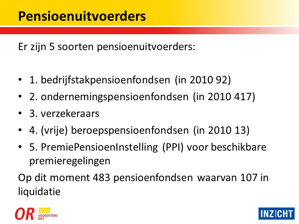 Enkele cijfers over pensioenregelingen Cijfers 2010Bedrijfstak- Pensioen fondsen Ondernemin gs-Pensioen fondsen Beroeps- en ov.