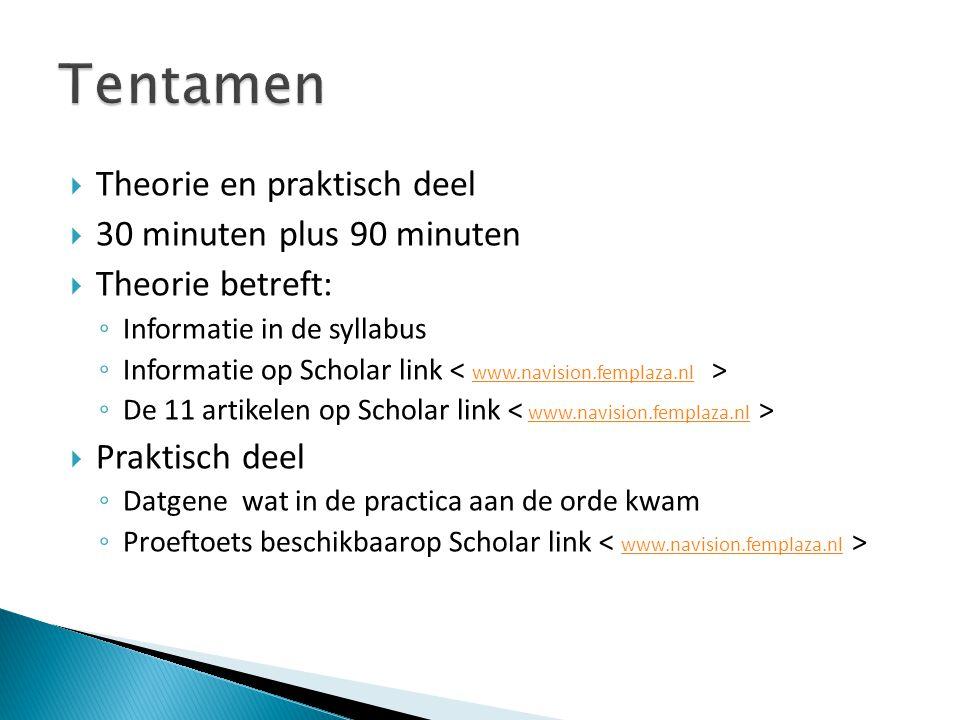 Theorie en praktisch deel  30 minuten plus 90 minuten  Theorie betreft: ◦ Informatie in de syllabus ◦ Informatie op Scholar link www.navision.femp