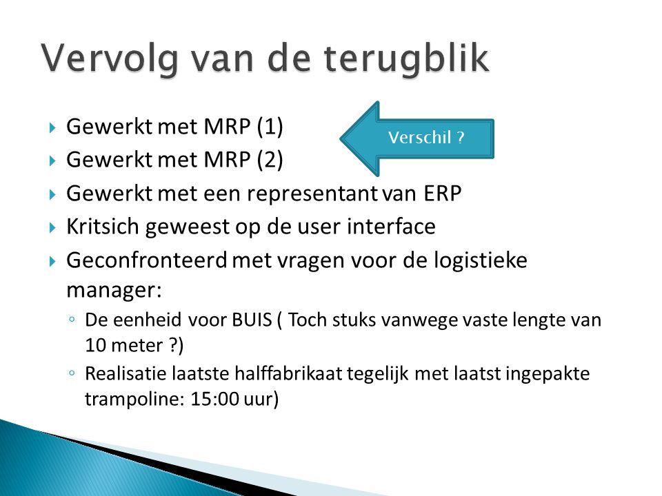  Gewerkt met MRP (1)  Gewerkt met MRP (2)  Gewerkt met een representant van ERP  Kritsich geweest op de user interface  Geconfronteerd met vragen