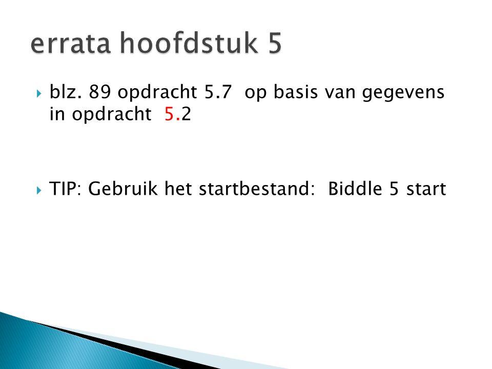  blz. 89 opdracht 5.7 op basis van gegevens in opdracht 5.2  TIP: Gebruik het startbestand: Biddle 5 start