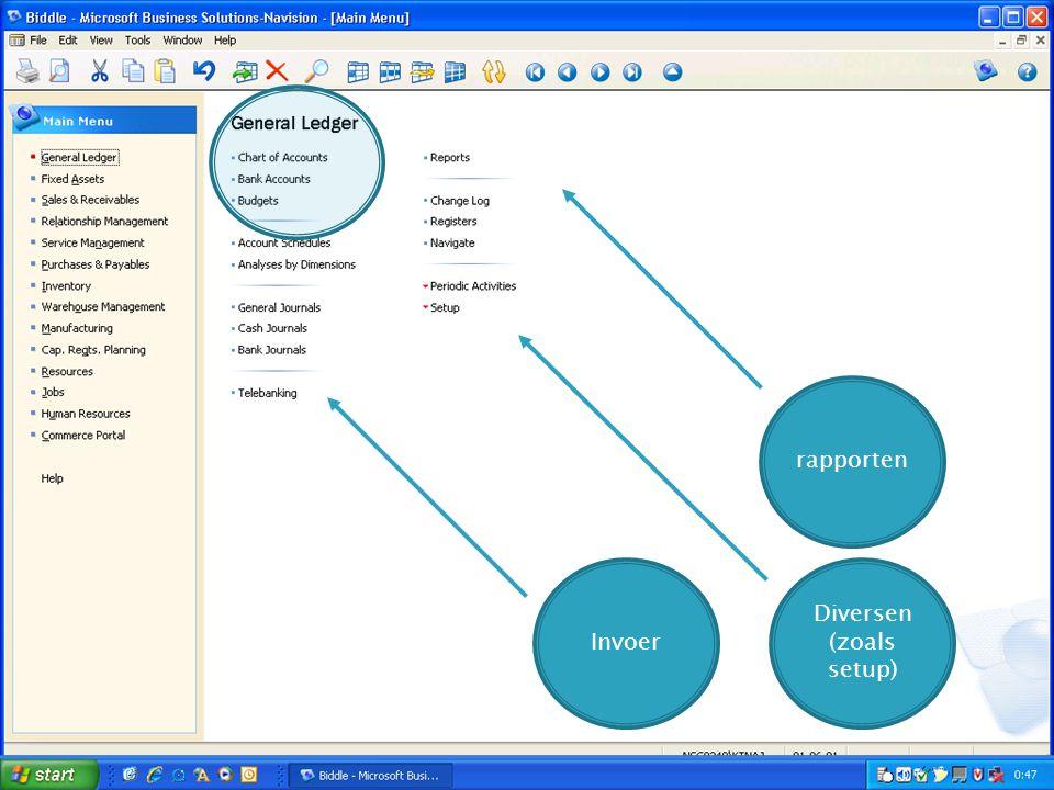 Invoer rapporten Diversen (zoals setup) Stam- gegeven s