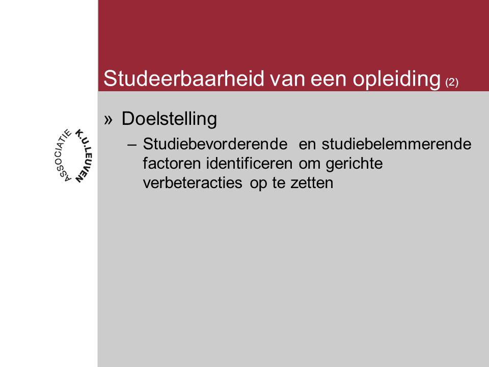 Studeerbaarheid van een opleiding (2) »Doelstelling –Studiebevorderende en studiebelemmerende factoren identificeren om gerichte verbeteracties op te zetten