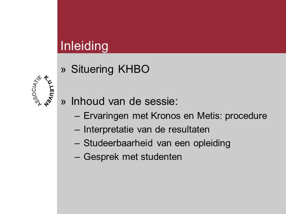 Inleiding »Situering KHBO »Inhoud van de sessie: –Ervaringen met Kronos en Metis: procedure –Interpretatie van de resultaten –Studeerbaarheid van een opleiding –Gesprek met studenten