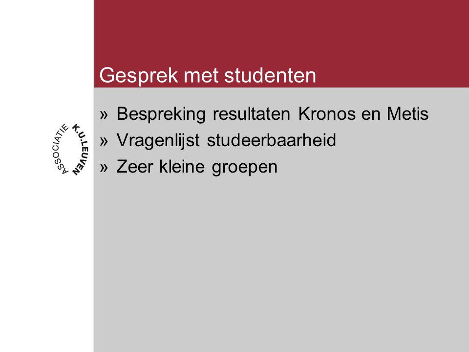 Gesprek met studenten »Bespreking resultaten Kronos en Metis »Vragenlijst studeerbaarheid »Zeer kleine groepen