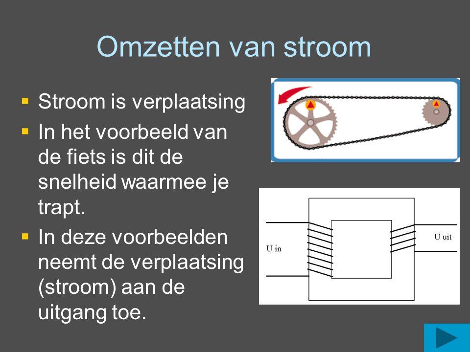 Omzetten van stroom   Stroom is verplaatsing   In het voorbeeld van de fiets is dit de snelheid waarmee je trapt.   In deze voorbeelden neemt de