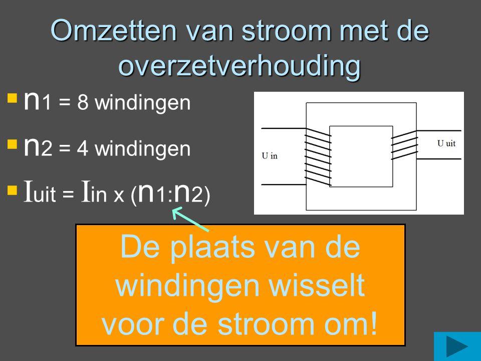 Omzetten van stroom met de overzetverhouding  n 1 = 8 windingen  n 2 = 4 windingen  I uit = I in x ( n 1: n 2) De plaats van de windingen wisselt v