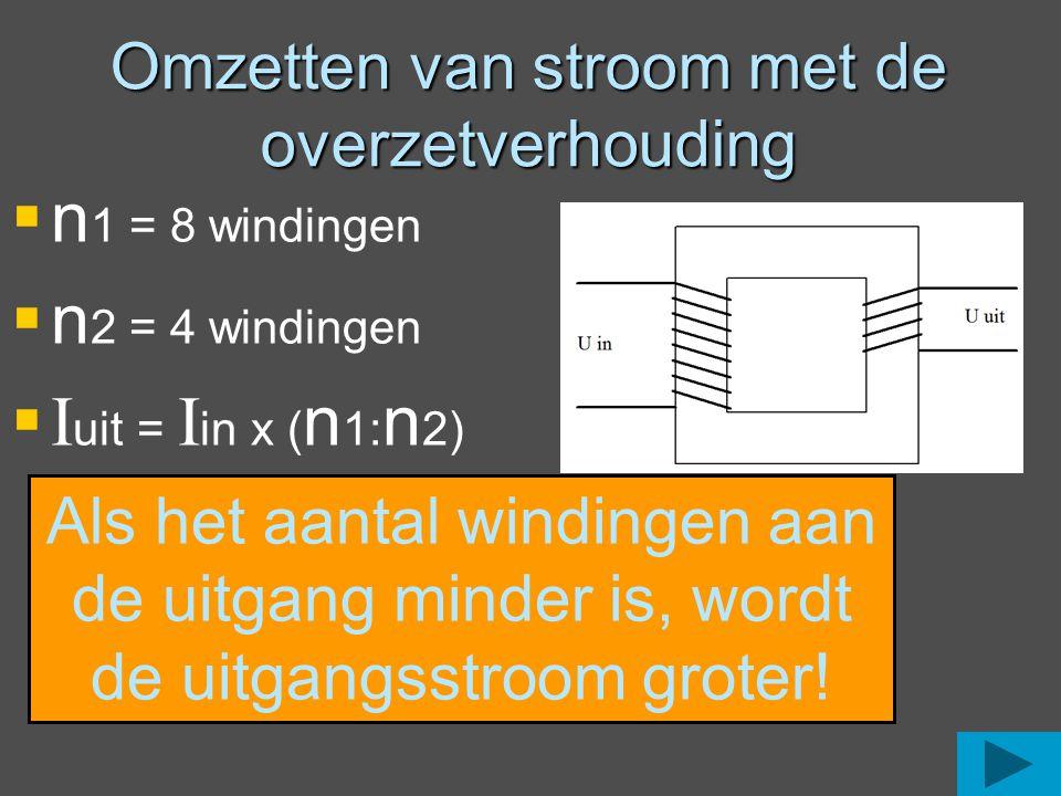 Omzetten van stroom met de overzetverhouding  n 1 = 8 windingen  n 2 = 4 windingen  I uit = I in x ( n 1: n 2) Als het aantal windingen aan de uitg