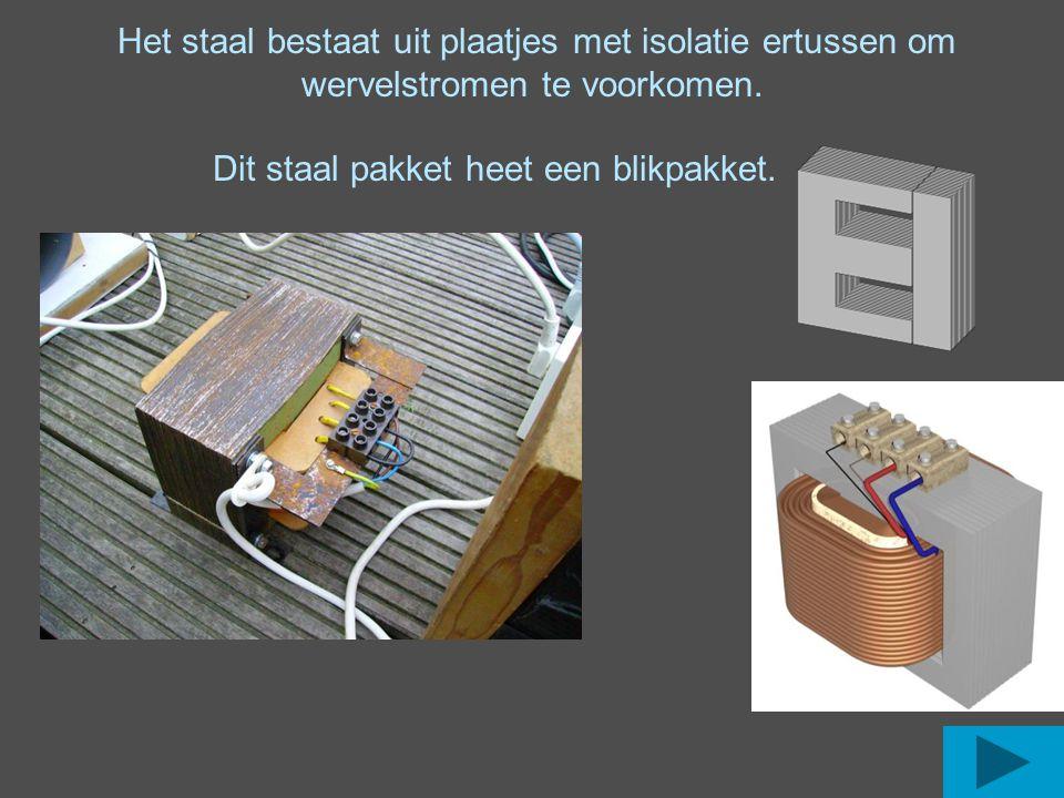 Het staal bestaat uit plaatjes met isolatie ertussen om wervelstromen te voorkomen. Dit staal pakket heet een blikpakket.