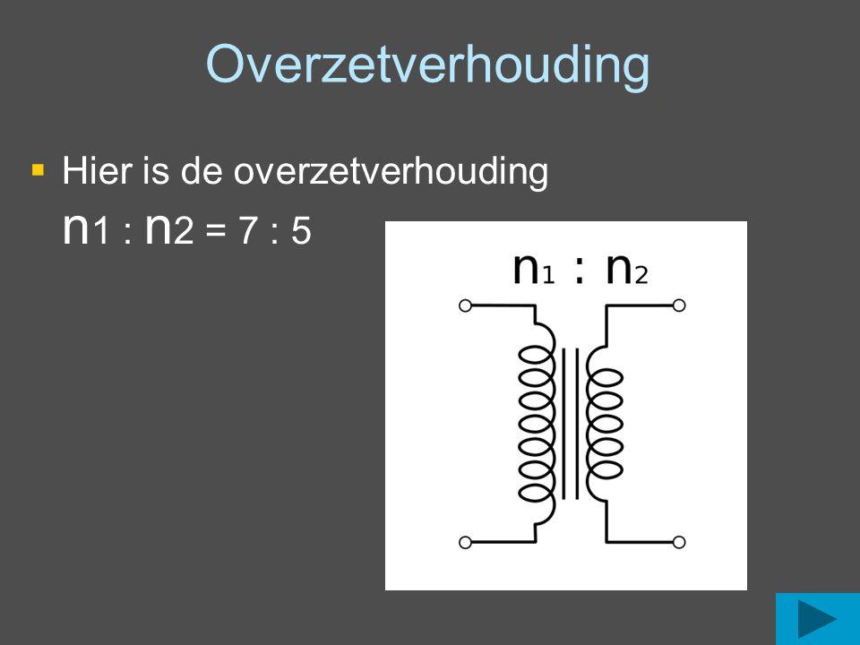 Overzetverhouding berekenen met de in en uitgangsspanning U uit = U in x ( n 2: n 1) 23 V = 230 V x ( n 2: n 1) ( n 2: n 1) = 23 V / 230 V ( n 2: n 1) = 0,1 n 1= n 2 : 0,1 = 4 : 0,1 = 40