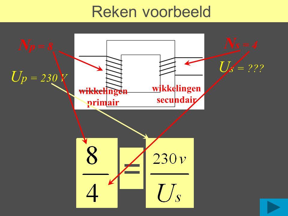 Reken voorbeeld U s = ??? N p = 8 N s = 4 wikkelingen primair wikkelingen secundair U p = 230 V =