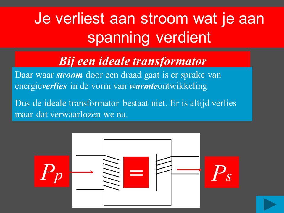 Je verliest aan stroom wat je aan spanning verdient PpPp Bij een ideale transformator (een transformator zonder verlies) Is het vermogen wat je er in