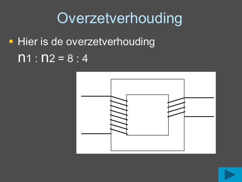 Overzetverhouding  Hier is de overzetverhouding n 1 : n 2 = 7 : 5  Hier is de overzetverhouding n 1 : n 2 = 20 : 8  Hier is de overzetverhouding n 1 : n 2 = 8 : 4
