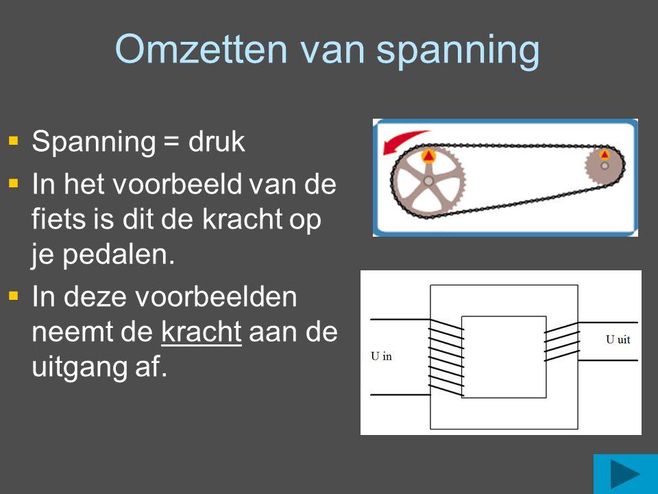 Omzetten van spanning   Spanning = druk   In het voorbeeld van de fiets is dit de kracht op je pedalen.   In deze voorbeelden neemt de kracht aa