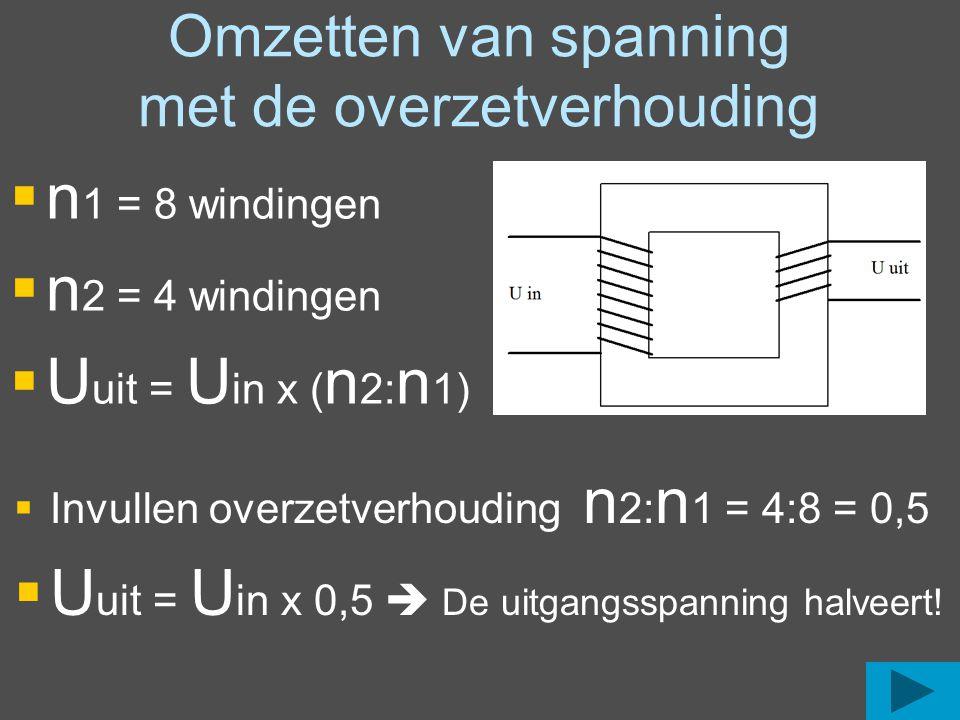 Omzetten van stroom met de overzetverhouding  n 1 = 8 windingen  n 2 = 4 windingen  I uit = I in x ( n 1: n 2)  Invullen overzetverhouding n 1: n 2 = 8:4 = 2  I uit = I in x 2  De uitgangsstroom verdubbeld!