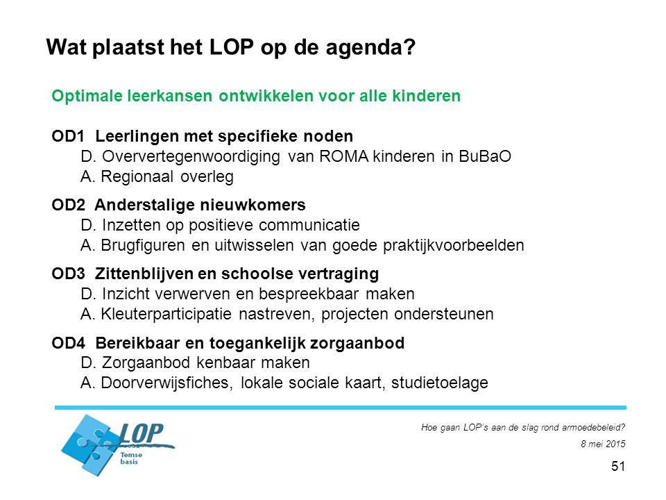 51 Hoe gaan LOP's aan de slag rond armoedebeleid. 8 mei 2015 Wat plaatst het LOP op de agenda.