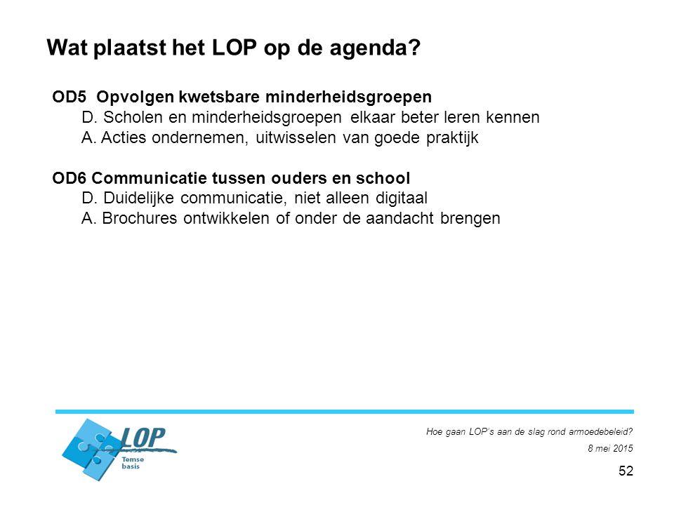 52 Hoe gaan LOP's aan de slag rond armoedebeleid. 8 mei 2015 Wat plaatst het LOP op de agenda.