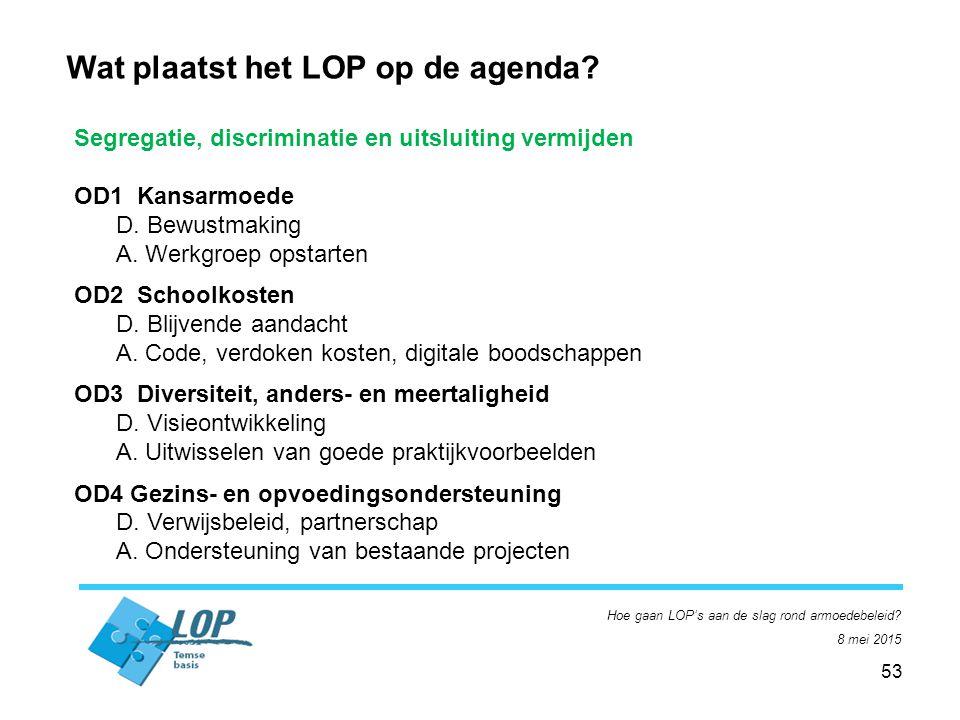 53 Hoe gaan LOP's aan de slag rond armoedebeleid. 8 mei 2015 Wat plaatst het LOP op de agenda.