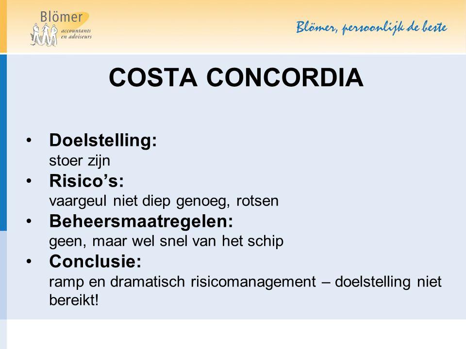 COSTA CONCORDIA Doelstelling: stoer zijn Risico's: vaargeul niet diep genoeg, rotsen Beheersmaatregelen: geen, maar wel snel van het schip Conclusie: