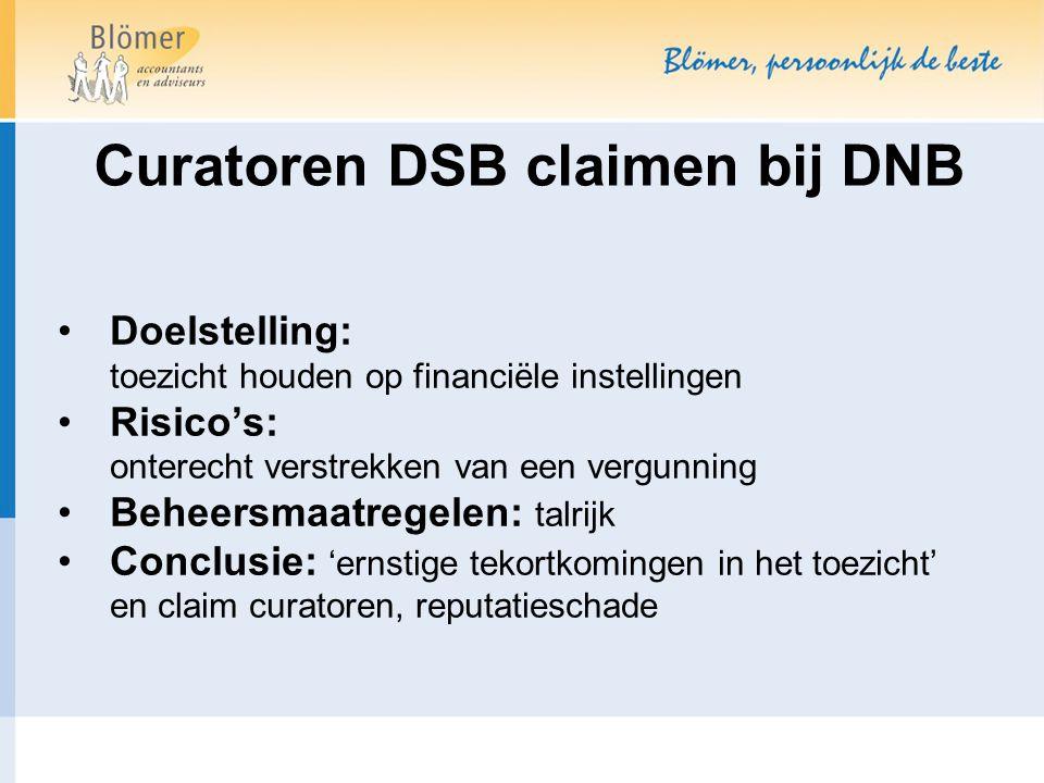 Curatoren DSB claimen bij DNB Doelstelling: toezicht houden op financiële instellingen Risico's: onterecht verstrekken van een vergunning Beheersmaatregelen: talrijk Conclusie: 'ernstige tekortkomingen in het toezicht' en claim curatoren, reputatieschade