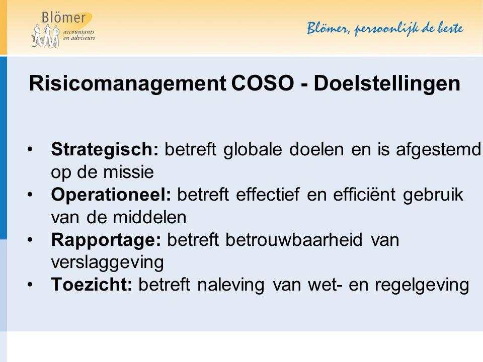 Risicomanagement COSO - Doelstellingen Strategisch: betreft globale doelen en is afgestemd op de missie Operationeel: betreft effectief en efficiënt gebruik van de middelen Rapportage: betreft betrouwbaarheid van verslaggeving Toezicht: betreft naleving van wet- en regelgeving