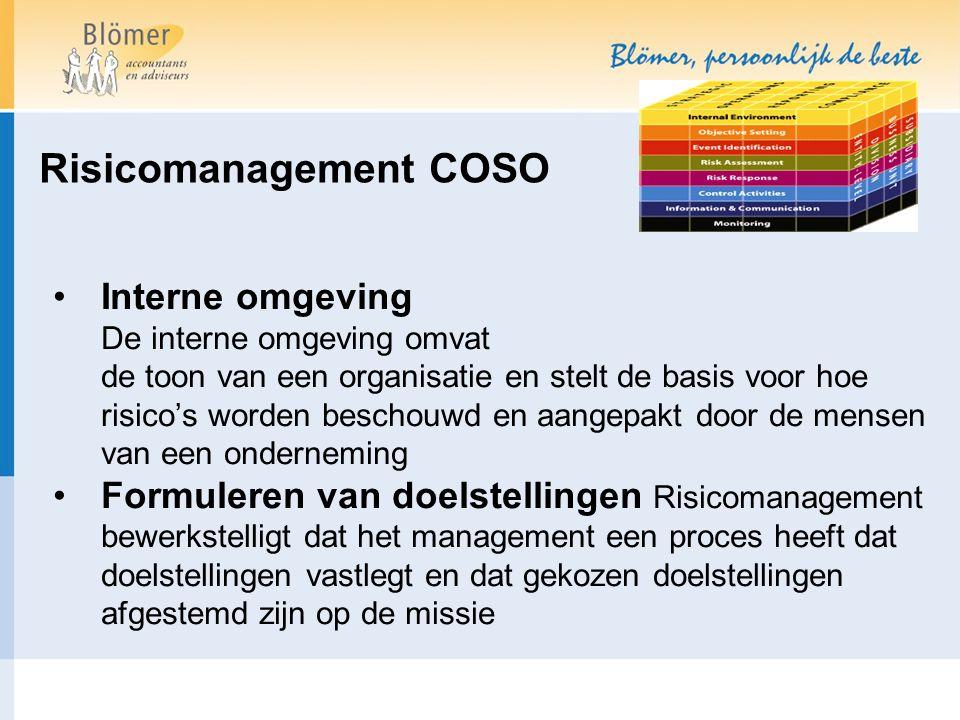 Risicomanagement COSO Interne omgeving De interne omgeving omvat de toon van een organisatie en stelt de basis voor hoe risico's worden beschouwd en aangepakt door de mensen van een onderneming Formuleren van doelstellingen Risicomanagement bewerkstelligt dat het management een proces heeft dat doelstellingen vastlegt en dat gekozen doelstellingen afgestemd zijn op de missie