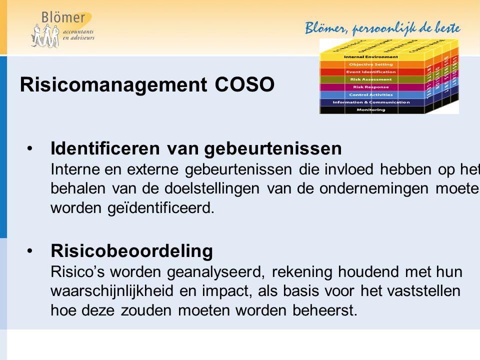 Risicomanagement COSO Identificeren van gebeurtenissen Interne en externe gebeurtenissen die invloed hebben op het behalen van de doelstellingen van de ondernemingen moeten worden geïdentificeerd.