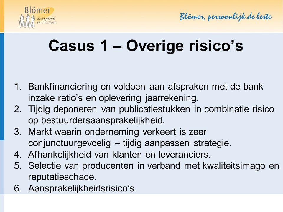 Casus 1 – Overige risico's 1.Bankfinanciering en voldoen aan afspraken met de bank inzake ratio's en oplevering jaarrekening. 2.Tijdig deponeren van p