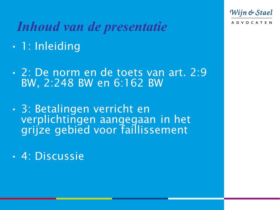 Inhoud van de presentatie 1: Inleiding 2: De norm en de toets van art. 2:9 BW, 2:248 BW en 6:162 BW 3: Betalingen verricht en verplichtingen aangegaan