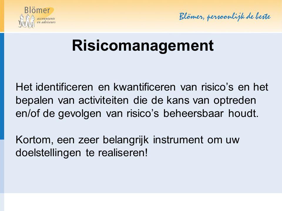 Risicomanagement Het identificeren en kwantificeren van risico's en het bepalen van activiteiten die de kans van optreden en/of de gevolgen van risico's beheersbaar houdt.