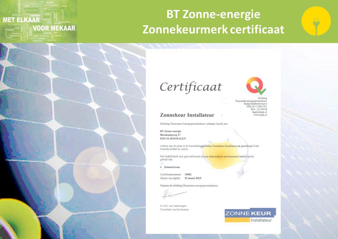 BT Zonne-energie Zonnekeurmerk certificaat
