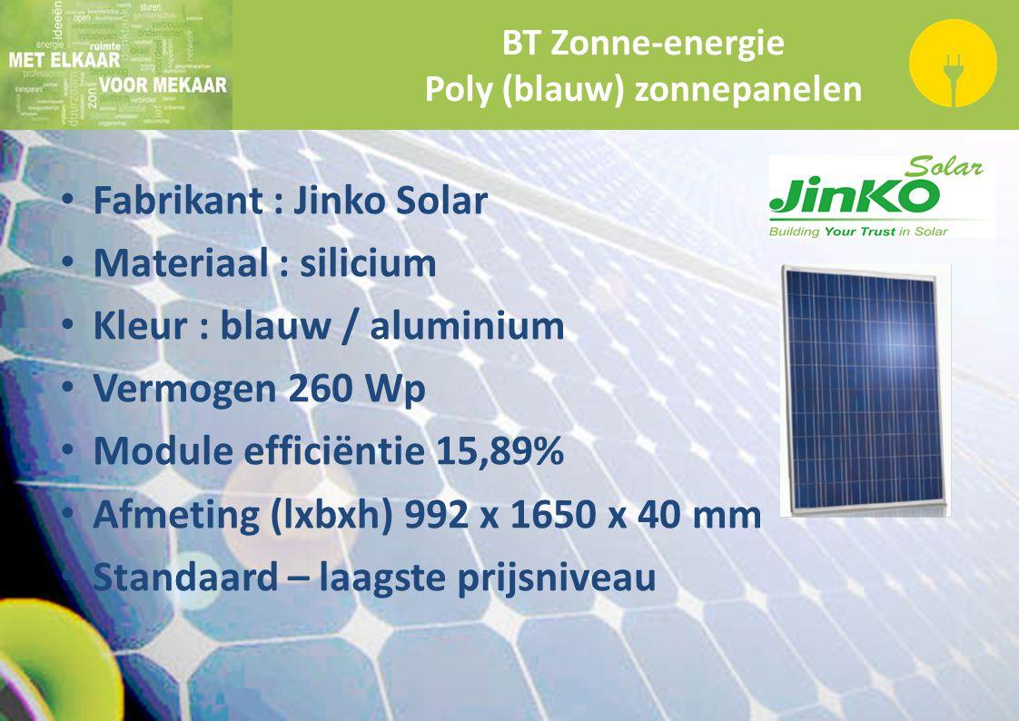 BT Zonne-energie Poly (blauw) zonnepanelen Fabrikant : Jinko Solar Materiaal : silicium Kleur : blauw / aluminium Vermogen 260 Wp Module efficiëntie 1