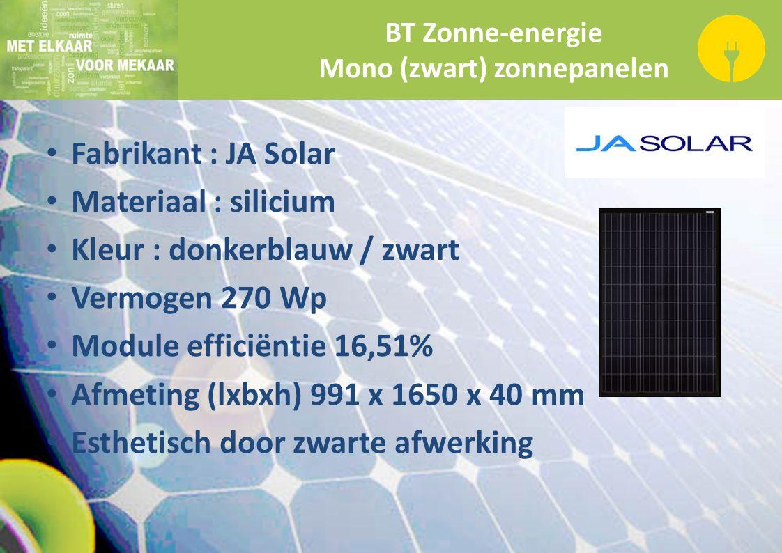 BT Zonne-energie Mono (zwart) zonnepanelen Fabrikant : JA Solar Materiaal : silicium Kleur : donkerblauw / zwart Vermogen 270 Wp Module efficiëntie 16
