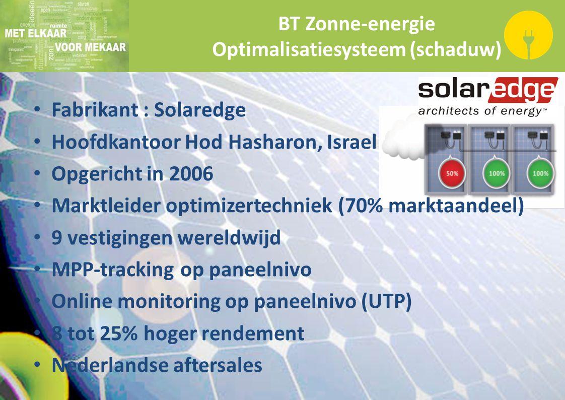 BT Zonne-energie Optimalisatiesysteem (schaduw) Fabrikant : Solaredge Hoofdkantoor Hod Hasharon, Israel Opgericht in 2006 Marktleider optimizertechnie