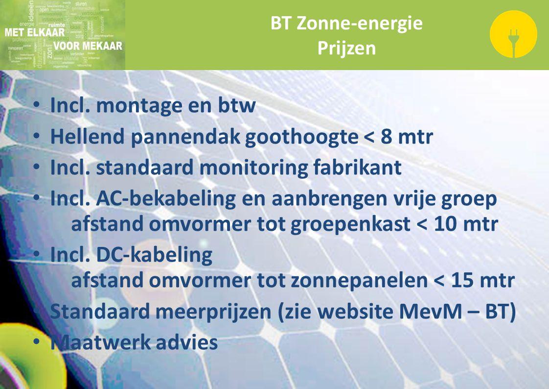 BT Zonne-energie Prijzen Incl. montage en btw Hellend pannendak goothoogte < 8 mtr Incl. standaard monitoring fabrikant Incl. AC-bekabeling en aanbren