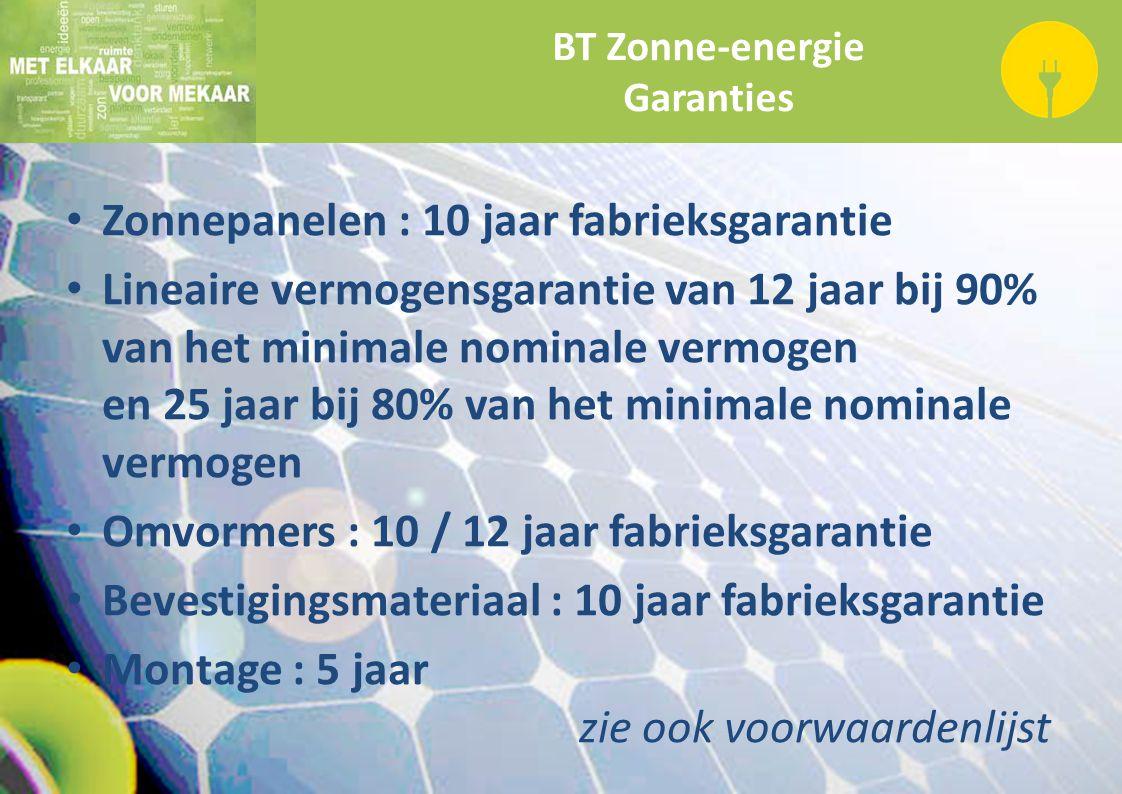 BT Zonne-energie Garanties Zonnepanelen : 10 jaar fabrieksgarantie Lineaire vermogensgarantie van 12 jaar bij 90% van het minimale nominale vermogen e