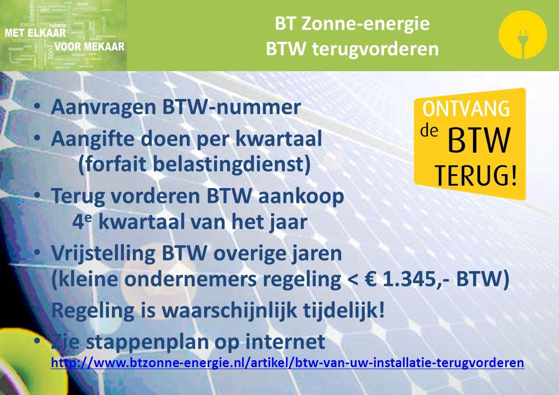 BT Zonne-energie BTW terugvorderen Aanvragen BTW-nummer Aangifte doen per kwartaal (forfait belastingdienst) Terug vorderen BTW aankoop 4 e kwartaal v