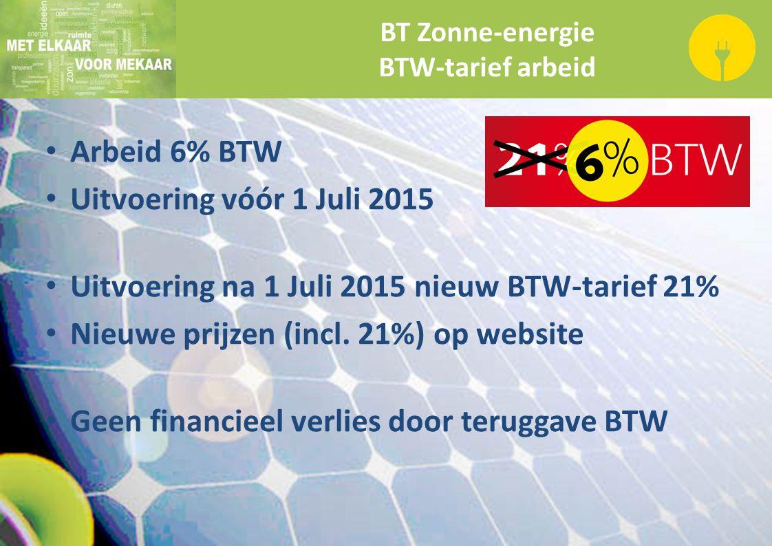 BT Zonne-energie BTW-tarief arbeid Arbeid 6% BTW Uitvoering vóór 1 Juli 2015 Uitvoering na 1 Juli 2015 nieuw BTW-tarief 21% Nieuwe prijzen (incl. 21%)