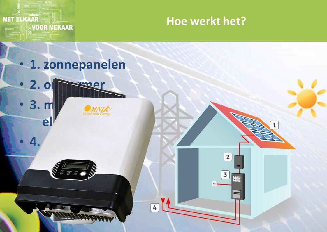 1. zonnepanelen 2. omvormer 3. meterkast / elektriciteitsmeter 4. elektriciteitsnet Hoe werkt het?