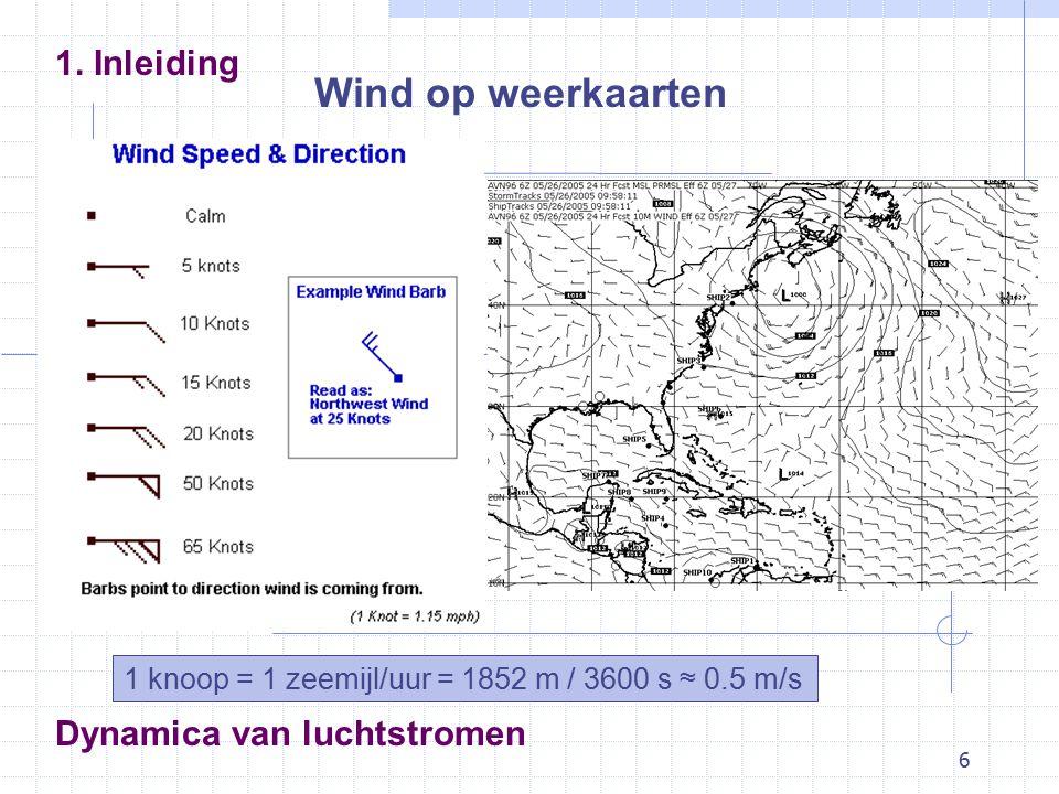 6 Dynamica van luchtstromen Wind op weerkaarten 1.