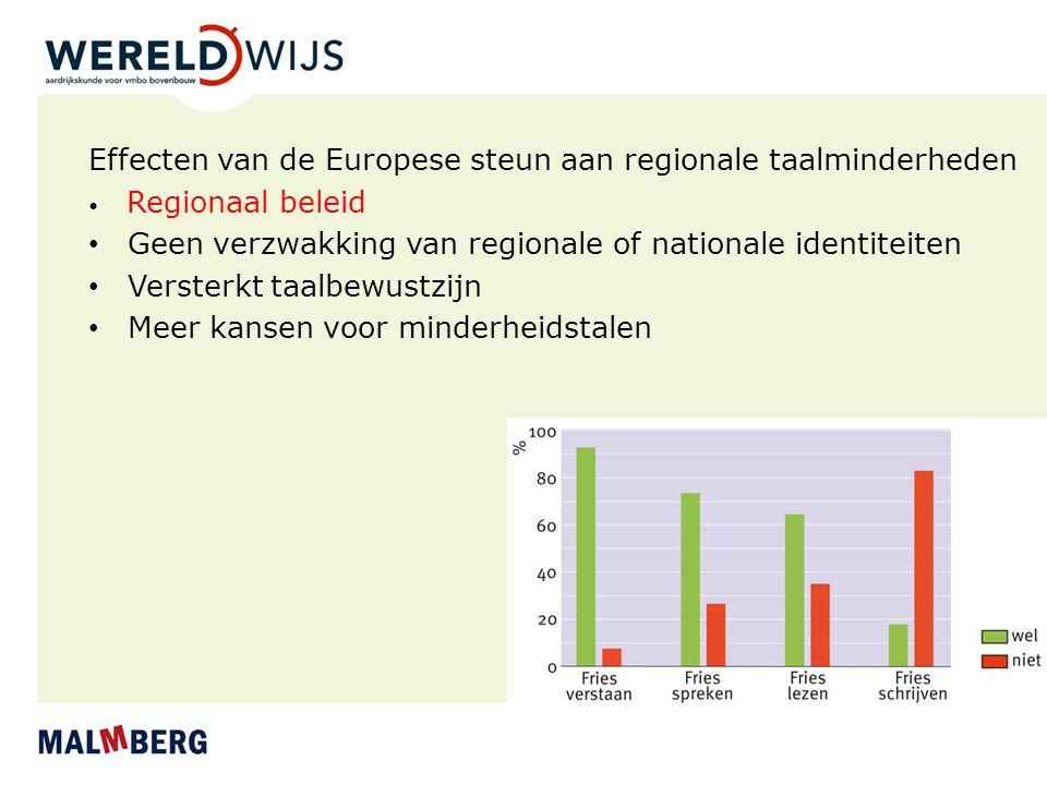 Effecten van de Europese steun aan regionale taalminderheden Regionaal beleid Geen verzwakking van regionale of nationale identiteiten Versterkt taalb