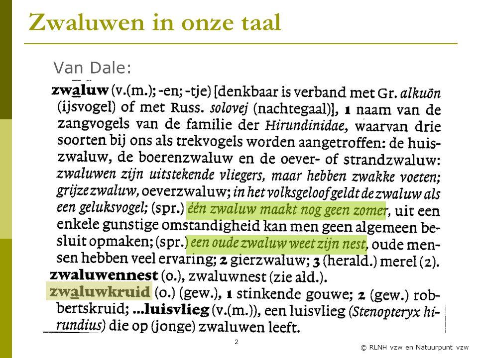 2 © RLNH vzw en Natuurpunt vzw Zwaluwen in onze taal Van Dale: